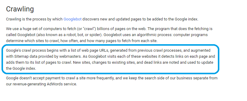 google crawling process